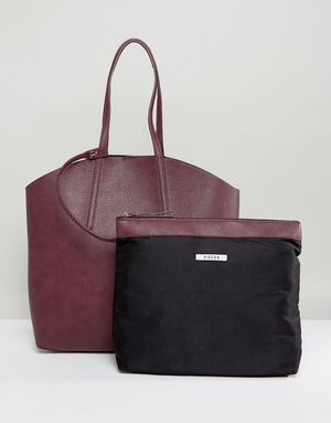 Pieces Shopper Bag With Removable Pouch - Red