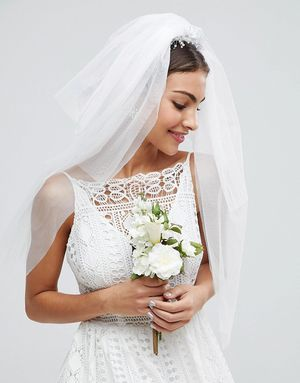 ASOS BRIDAL Crystal Bead Veil - White