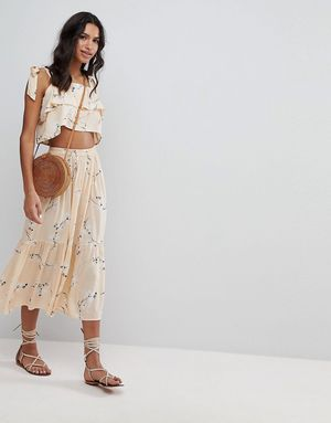 Faithfull Floral Midi Skirt Co-Ord - Yellow