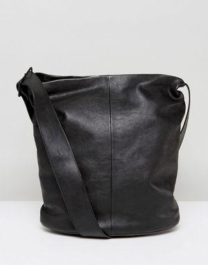 Vagabond Minimal Leather Shoulder Bag With Cross Body Strap - Black