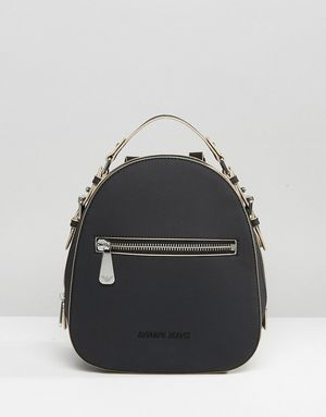 Armani Jeans Simple Backpack with Embossed Logo in Black - Black