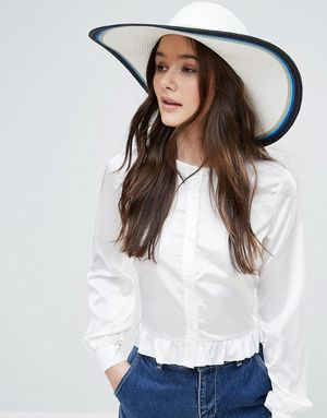French Connection Colour Block Oversized Stripe Floppy Straw Beach Hat - Multi