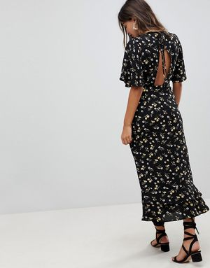 Fashion Union Maxi Dress With Open Back In Daisy Floral - Multi
