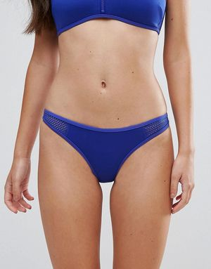 Stella McCartney Neoprene & Mesh Classic Bikini Bottom - Blue
