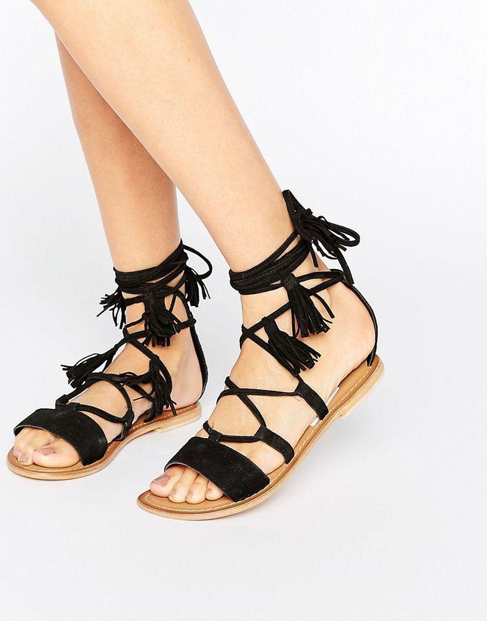 ASOS FICUS Leather Tie Leg Sandals - Black