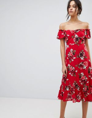 Y.A.S Floral Off Shoulder Midi Dress With Ruffle Hem - Red