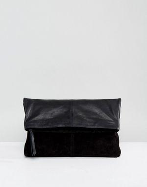 ASOS Leather Soft Foldover Clutch Bag - Black