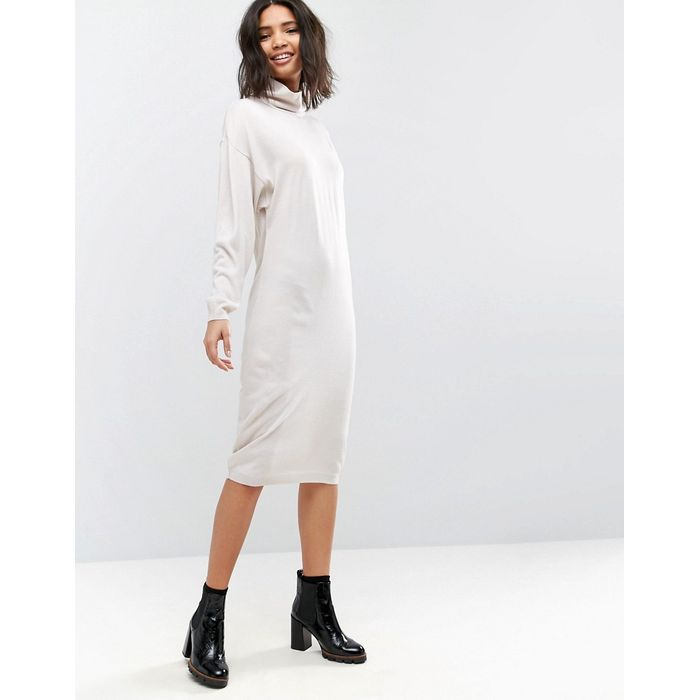 ASOS Knitted Dress In Midi Length With High Neck - Stone