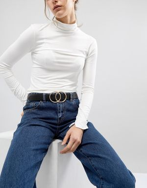 ASOS Leather Double Circle Waist and Hip Belt - Black