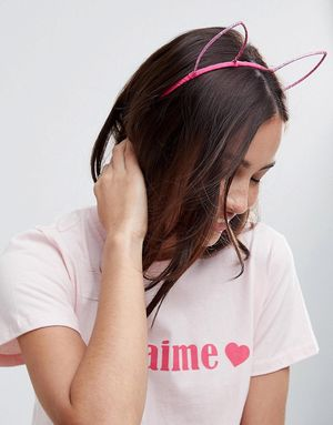 ASOS Glitter Fox Ears Headband - Pink