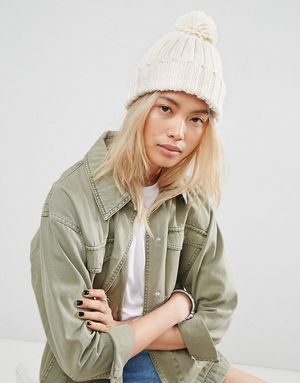 ASOS Knitted Pom Beanie with Turn Up - Beige