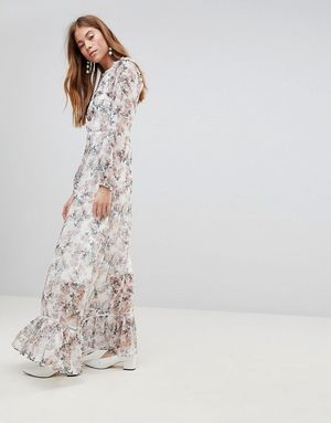 Glamorous Maxi Dress With Ruffle Layers In Blossom Floral - Cream