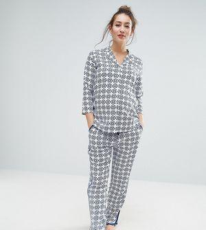 ASOS Maternity TALL Traditional Tile Print Pyjama Shirt And Trouser Set - Blue