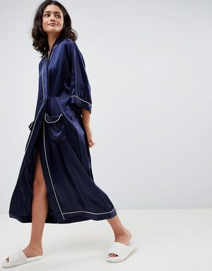 ASOS WHITE 100% Silk Dressing Gown - Navy