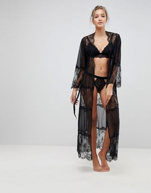 ASOS Eyelash Lace and Mesh Maxi Robe - Black