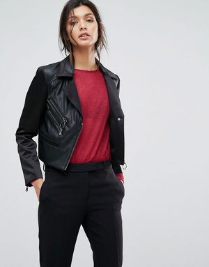 Sisley Faux Leather Biker Jacket With Zip Details - Black