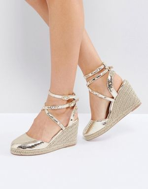ASOS JEKYLL Studded Espadrille Wedges - Gold
