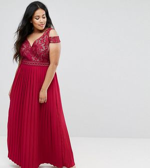 Little Mistress Plus Cold Shoulder Maxi Dress With Pleated Skirt - Red