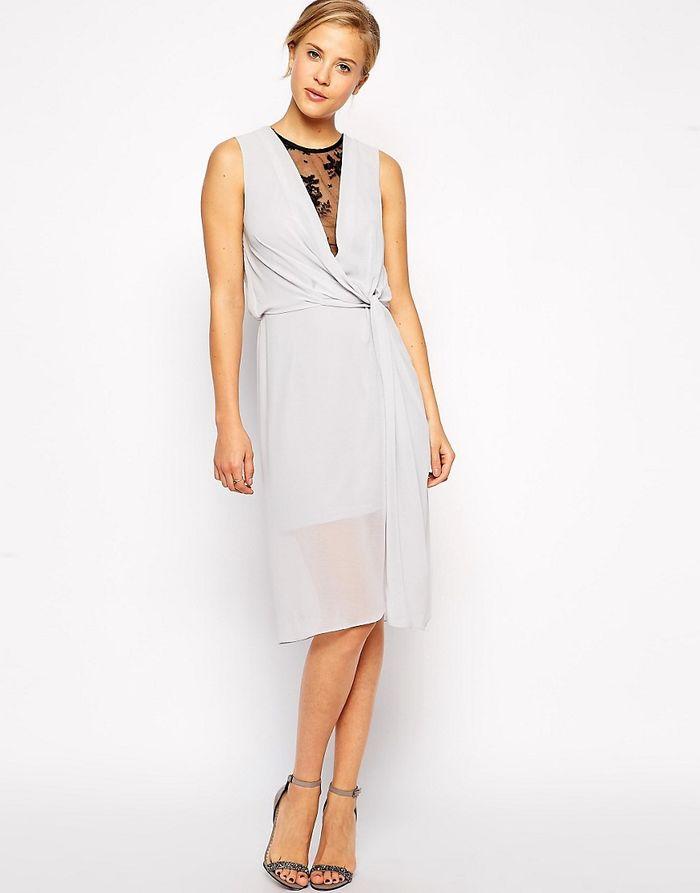 ASOS Drape Midi Dress With Lace Insert - Grey