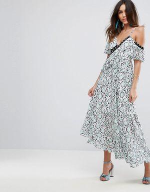 ASOS PREMIUM Lace Ruffle Maxi Dress - Multi
