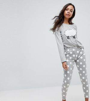 ASOS PETITE Fluffy Sheep Long Sleeve Tee and Legging Pyjama Set - Multi