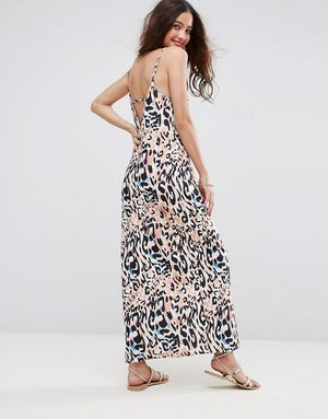 ASOS V Back City Maxi Dress In Abstract Animal Print - Multi