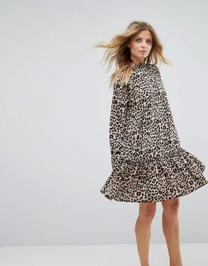 ASOS Smock Pep Hem Dress In Leopard Print - Multi