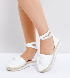 Lost Ink Wide Fit White Bow Espadrilles - White