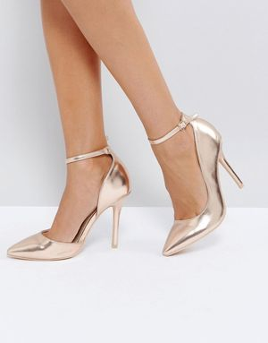 Glamorous Rose Gold Ankle Strap Court Shoes - Gold