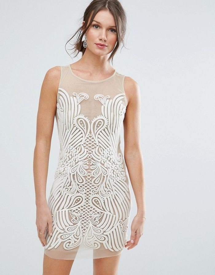 ASOS Placed Illusion Embroidered Mini Dress - Beige