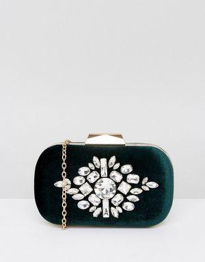 True Decadence Emerald Green Velvet Gem Clutch Bag - Green