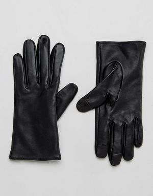 ASOS Plain Leather Gloves with Touch Screen - Black