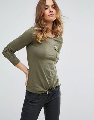 Sisley T-Shirt with Long Sleeve and Pocket - Green