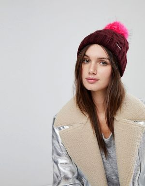 River Island Cable Knit Faux Fur Pom Pom Beanie Hat - Red