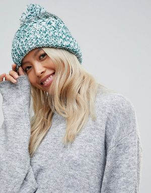 French Connection Knitted Pom Beanie Hat - Grey