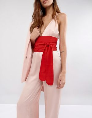 ASOS Red Fabric Obi Belt - Red