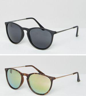 ASOS 2 Pack Skinny Keyhole Retro Round Sunglasses Matt Black & Tort And Pink Flash Lens - Multi