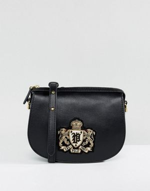 Polo Ralph Lauren Saddle Bag In Leather With Crest - Black