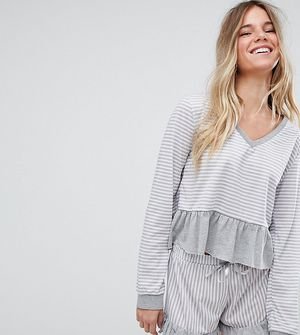 Hey Peachy Grey Ruffle Striped Cropped Pyjamas - Pink