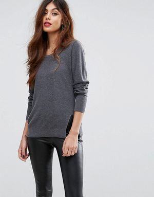 Sisley Round Neck Jumper With Side Split - Grey