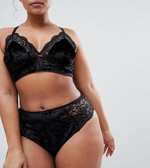 New look Curve Velvet & Lace Brief - Black
