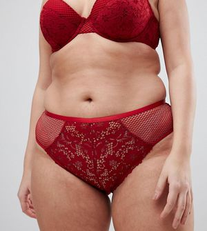 New Look Curve Cotton Lace Brief - Red