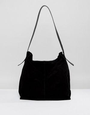 ASOS Suede Contrast Shoulder Bag - Black