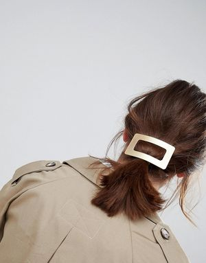Limited Edition Open Rectangle Hair Barette Clip - Gold