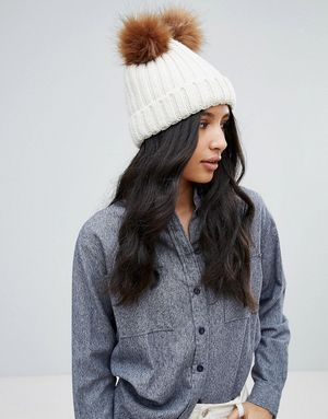 Boardmans Knitted Beanie Hat With Double Pom Pom - Beige