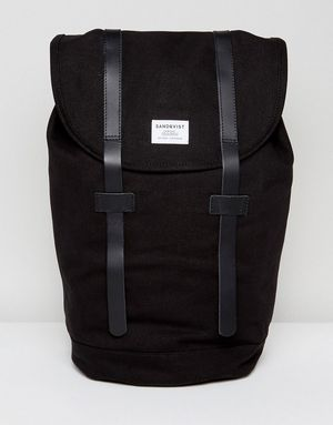 Sandqvist Stig Organic Cotton Backpack With Leather Straps - Black