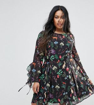 Unique 21 Hero Plus Tea Dress With Tie Ruffle Sleeves In Garden Floral Print - Multi