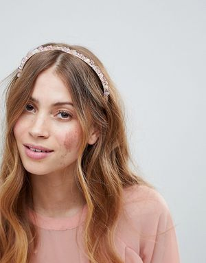 ASOS DESIGN Crystal Bead Bridesmaid Headband - Pink
