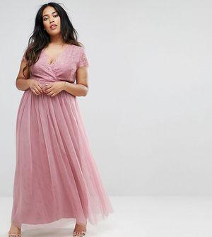 Little Mistress Plus Lace Bodice Maxi Dress - Multi