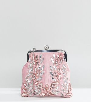 Maya Allover Sequin Embroidered Clutch Bag - Pink